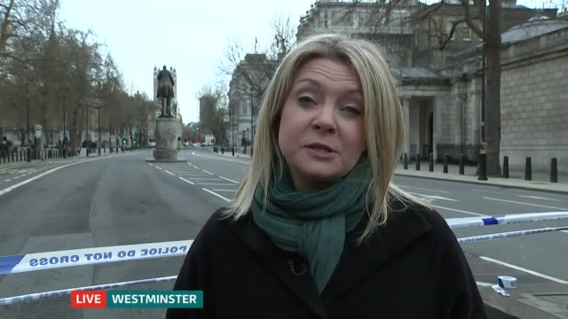 ITV News Special 1650 1800 Emma Murphy to camera SOT Wide shot of police cars with flashing lights outside Houses of Parliament Paramedics treating...
