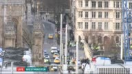ITV News Special 1650 1800 Wide shot of emergency services outside Houses of Parliament Rohit Kachroo to camera SOT Wide shot of police cars with...