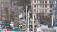 ITV News Special 1650 1800 Wide shot of police cars with flashing lights outside Houses of Parliament Libby Wiener speaking to camera in Westminster...