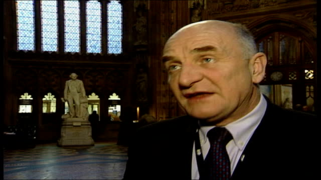 Westminster Vaulted ceiling TILT DOWN reporter to camera John Trickett MP interview SOT We'll be looking very carefully at every point of pressure...
