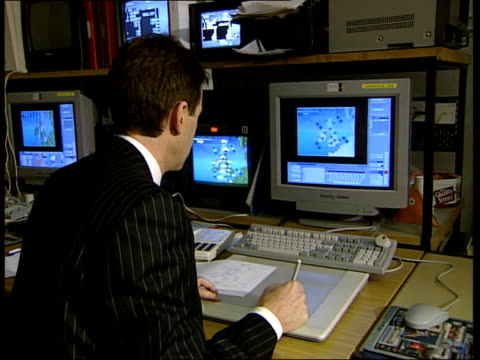 Wettest Autumn on record INT Weather map on screen FOCUS PULL man's face BV Martyn Davies at computer terminal Martyn Davies interviewed SOT The...