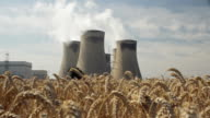 MS Wheat field, coal fired power station cooling towers in background / Drax, Yorkshire, United Kingdom