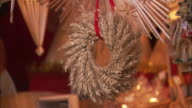 CU Wheat wreath for sale at Christkindlesmarkt (Christmas market) / Nuremberg, Bavaria, Germany