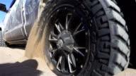 SLO Wheel of a car stuck in sand/Xinjiang,China.