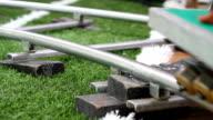wheels of rail slides, camera video.