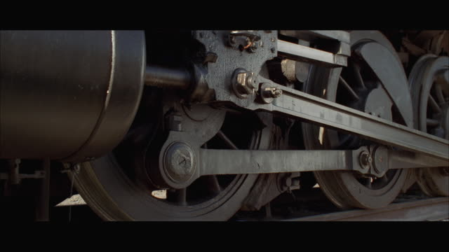 CU Wheels on steam train engine, train moving forward
