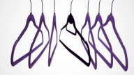 White background Hangers swinging Group of objects Purple and Black
