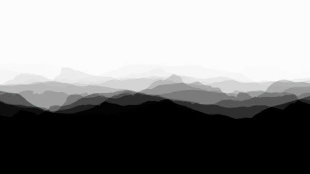 SOFT MOUNTAIN RIDGES BLACK - white background (seamless looping)