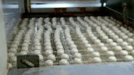 White chocolates on a vibrating metal rack on a production line