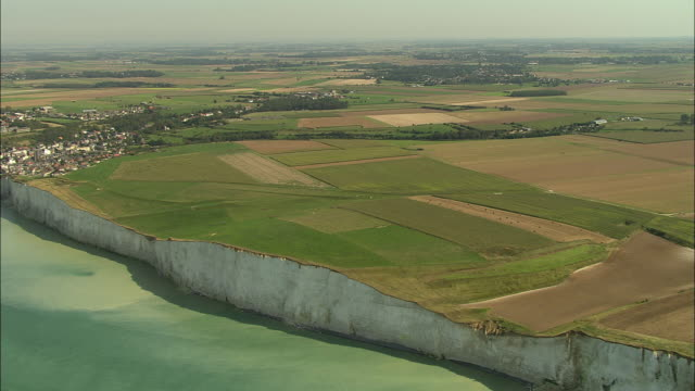 AERIAL, White cliffs and fields of Ault, Picardie, France
