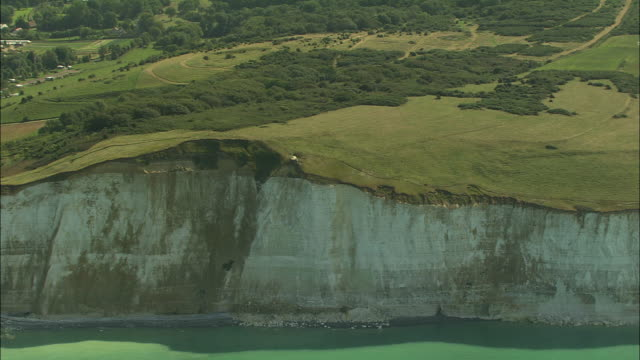 AERIAL, White cliffs and fields of Mers les Bains, Picardie, France