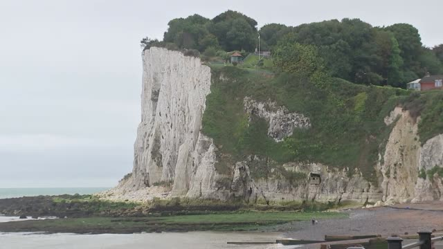 White Cliffs of Dover general views GVs White Cliffs of Dover and beach / ferries coming in to harbour