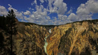 TIME LAPSE WIDE SHOT white clouds in blue sky over Lower Yellowstone Falls and Yellowstone River in the Grand Canyon of the Yellowstone