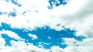 White clouds in blue sky, Time lapse