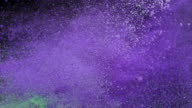 SLO MO White, green and violet dust collision