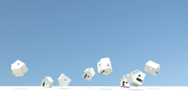 CGI, White model houses falling from blue sky and bouncing against white floor