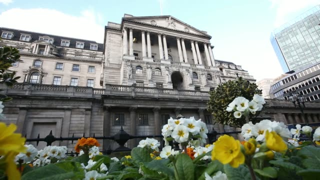 White primroses grow in a flower bed outside the Bank of England headquarters in London UK on Tuesday Feb 4 Pedestrians walk past the stone columns...