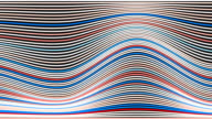 White red and blue abstract wave stripes. Loop animation background. 3d rendering