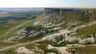 White rocky cliffs, aerial video