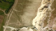 White rocky cliffs, top view, aerial video