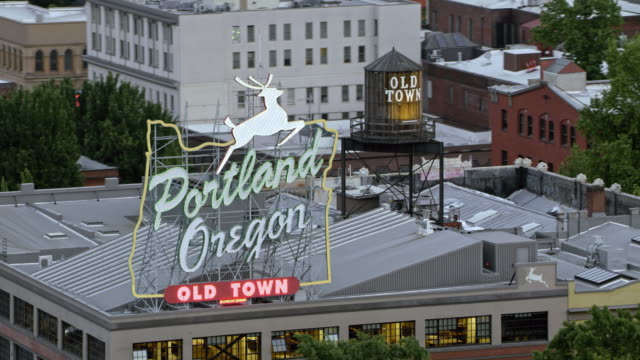 AERIAL White Stag building in Portland, Oregon