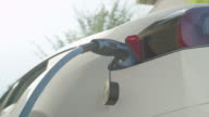 CLOSE UP: White tesla electric vehicle plugged in, charging car battery