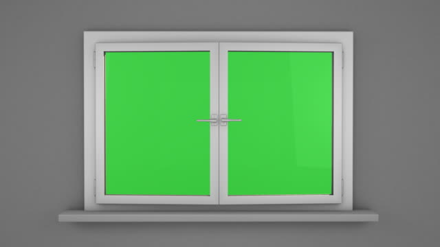 White window with green screen