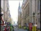 Whitehall and Big Ben fenced off and surrounded by Police in preparation for the 2002 London Marathon