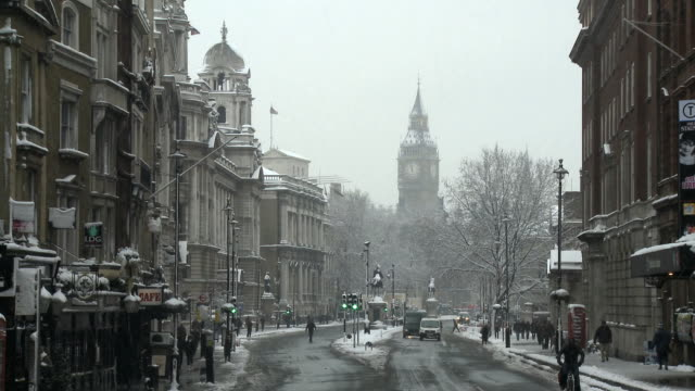 WS Whitehall with Big Ben in background, Winter, London, United Kingdom