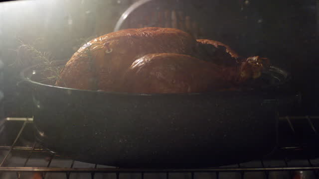TIME LAPSE CLOSE UP whole turkey cooks in pot in oven with ready button popping up