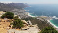 Wide aerial pan of Cape Town, South Africa