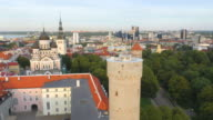 Wide aerial panoramic shot of Tallinn with Pikk Hermann tower and Estonian flag passing on foreground