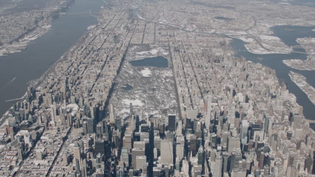 Wide Aerial View Of Manhattan On A Sunny Winter Day