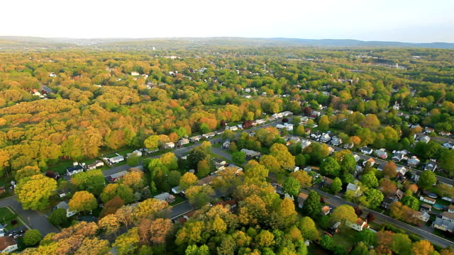 Wide aerial view of suburban landscape Spring