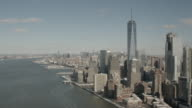Wide Aerial View Of The Hudson River and West Side Of Manhattan, New York City Facing North