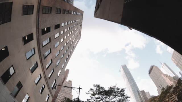 Wide Angle view looking up at New York Skyscrapers