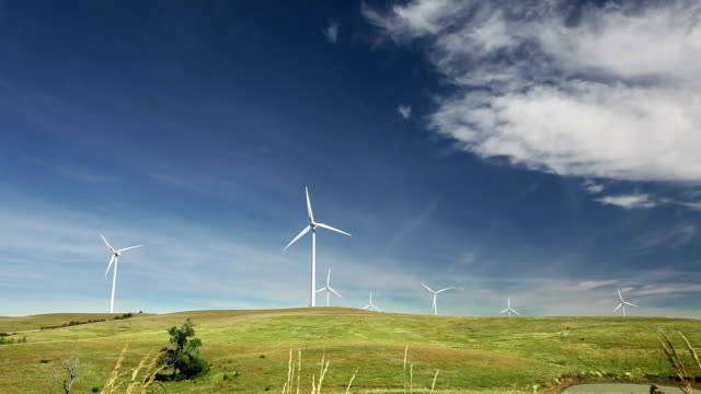 Wide angle view of a windmill farm