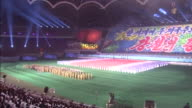 Wide angle view of performances of the Grand Mass Gymnastics and Artistic Performance Arirang Tilting from the fireworks to the performances