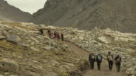 Wide Block Shot Pilgrims doing circumambulation around Mount Kailash Lhasa Tibet China