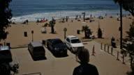 wide overlook of Topanga beach surfing