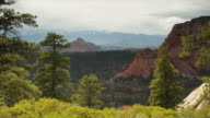 Wide panning shot of canyon and mountain range / Zion National Park, Utah, United States