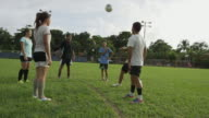 Wide panning shot of soccer team passing ball in practice / Esterillos, Puntarenas, Costa Rica