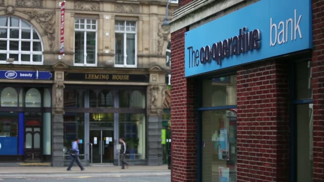 Wide shot a CoOperative Bank Plc branch a unit of CoOperative Group Ltd in Leeds UK on Wednesday Sept 25 Various general views exterior of...