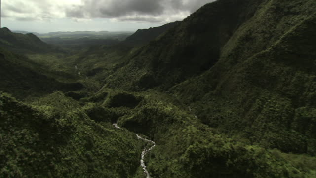 Wide Shot aerial push-in - A river winds through a lush valley on Hawaii's Kauai island. / Hawaii, USA