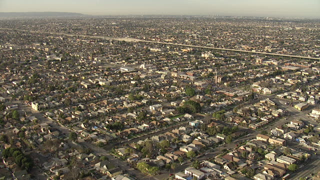 Wide Shot aerial tracking-left zoom-in - Homes line endless streets in Los Angeles. / Los Angeles, California, USA