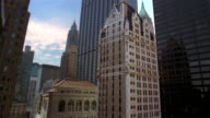 Wide shot American International, Federal Reserve Bank, Chase Manhattan Tower, Liberty Tower and HSBC / NYC
