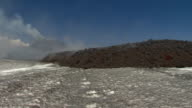 Wide shot and closeup of a lava flow on Mount Etna