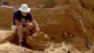 Wide shot archeologist using tools on dig