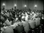 B/W 1947 wide shot audience at HUAC hearings / newsreel
