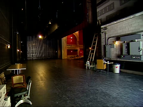 Wide shot backstage area of newly-restored theatre / Vermont